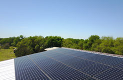 commercial solar on a pitched roof in San Marcos TX