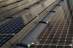 Commercial solar panels on a flat roof in Austin TX