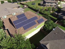 Solar Panels installed on a house in the San Marcos Blanco Vista neighborhood.