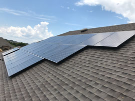 Solar Panels on a West facing roof in Buda TX